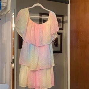 Pastel rainbow tiered dress